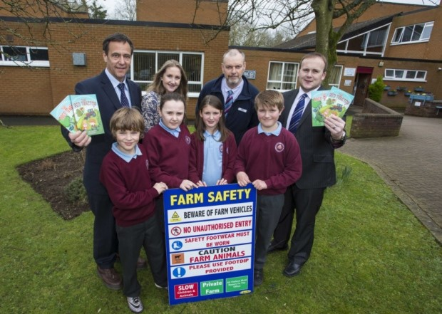 Pictured at the competition's launch (l-r): Ulster Bank's Senior Agriculture Manager, Cormac McKervey, AgriKids founder and author Alma Jordan, HSENI's Deputy Chief Executive, Bryan Monson and Wayne McCully, Branch Manager of Ulster Bank Comber alongside pupils from Andrews Memorial Primary School.