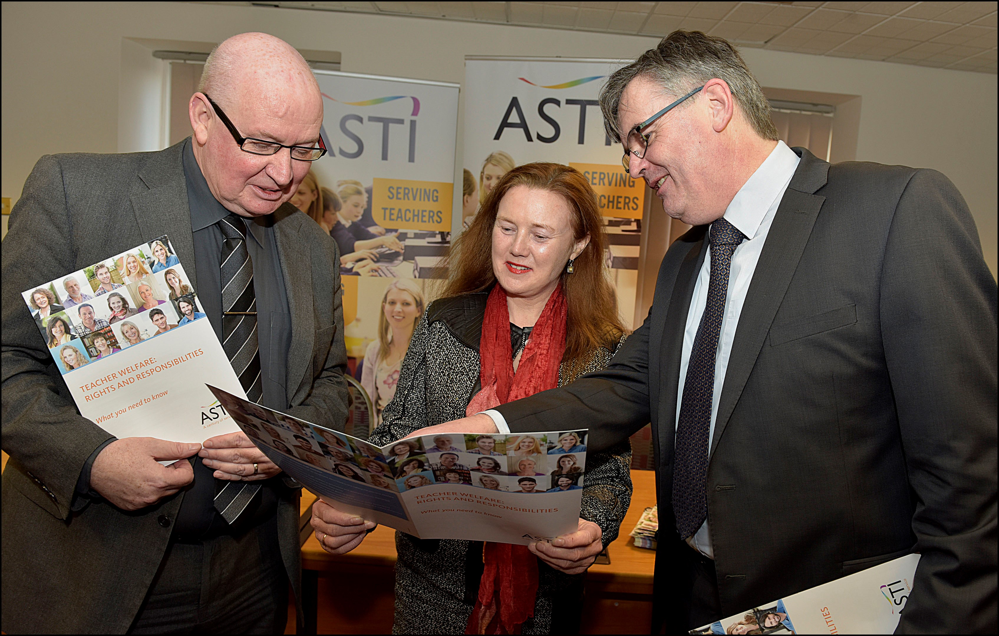 Pictured at the launch of the ASTI booklet: Ed Byrne, ASTI President, Annette Dolan, TUI and John Irwin, ACCS.